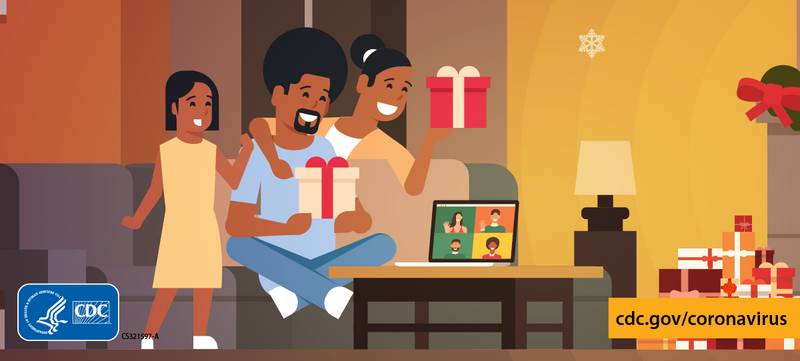 two adults and a child opening presents over a video call