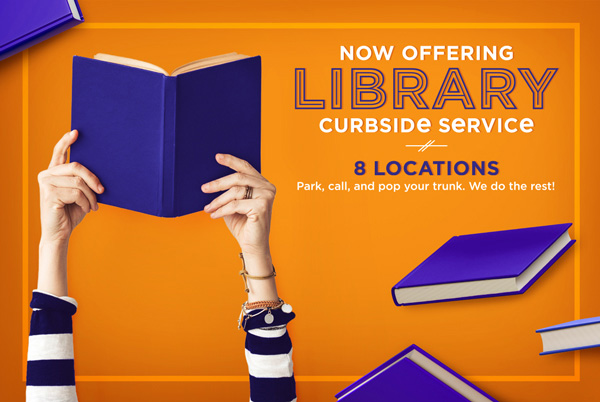 "a set of hands holding a book - text reads ""Now Offering Library Curbside Service"""