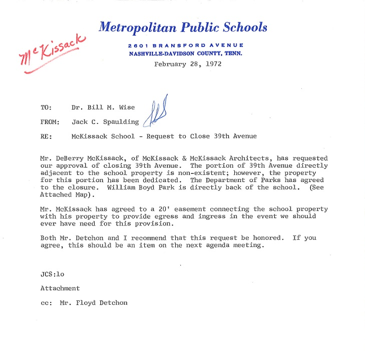 Letter reg. closing 39th Ave for the construction of McKissack Elementary School in 1972