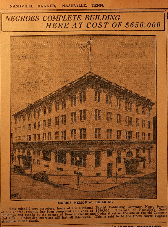 Nashville Banner clipping of National Baptist Publishing Company building in 1925