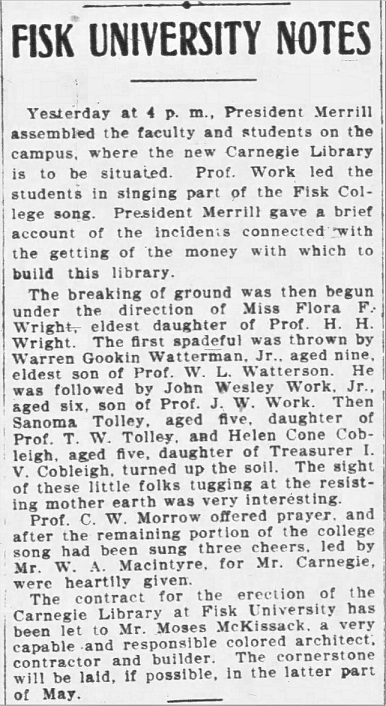 Clipping from the Nashville Banner, April, 1908