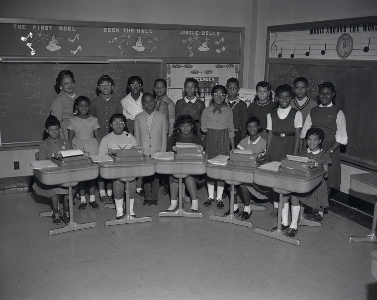 View of a typing class at McKissack Elementary in August, 1961