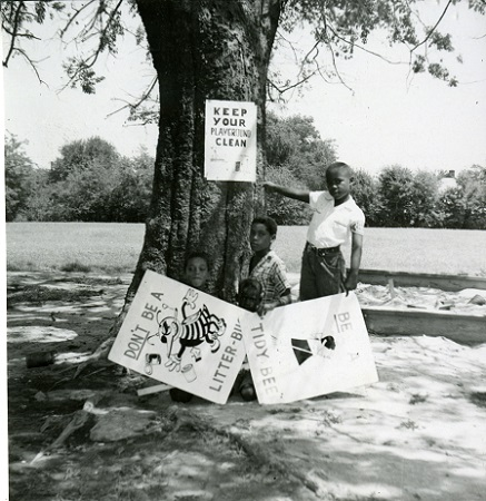 From City Beautiful Scrapbook in 1956 - Ford Green Elementary students with anti-litter signs
