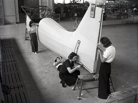 From the Banner Collection in Archives, women working on airplanes circa 1941
