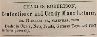 Ad for a confectionary on Market Street, in 1857