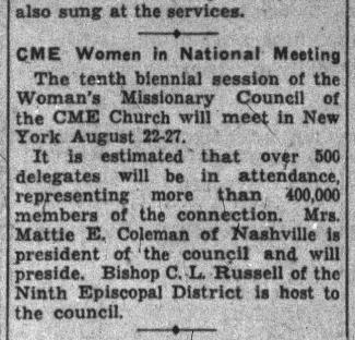 Nashville Banner clipping from 1939