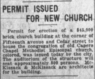 Nashville Banner clipping from April, 1925, talking about the plans for a new church