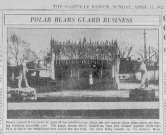 Clipping from the Nashville Banner from 1932 featuring the Polar Bear Corporation