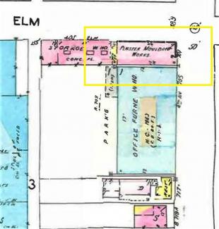 Sanborn Map circa 1930-50's, showing the intersection of 4th and Elm Streets