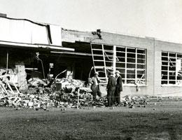 photo of a school damaged by a bomb