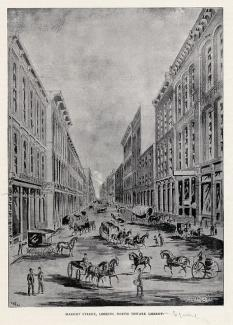 Drawing of Market Street in the 19th Century